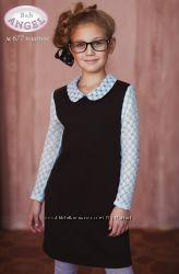 Платье школьное из стеганного трикотажа Baby Angel 677