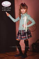 Школьная юбка, полушерсть, красная клетка Baby Angel, р. 122-152