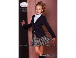 Школьная юбка в складку, полушерсть, синяя клетка Baby Angel, р. 122-152
