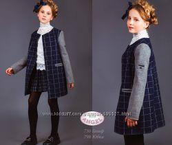Стильное кашемировое пальто в клетку от Baby Angel, идеально в школу