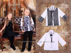 Блуза с рюшами и кружевами от ТМ Моне, размеры 116-134