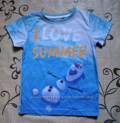 Фирменные футболки Matalan и Frozen на 1-2 года