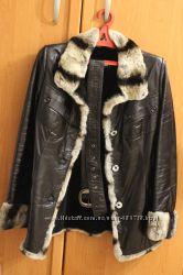 Натуральная кожаная куртка-дубленка, размер М