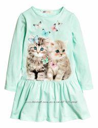 Платье H&M Котики Длинный рукав Размеры 134-140 на 8-10 лет