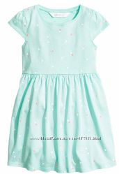 Летнее платье H&M Мятное в сердечки Размеры на 2-10 лет
