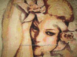 Картина вышитая крестиком Девушка с орхидеями