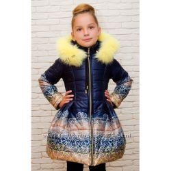 Детское теплое пальто с юбкой и капюшоном