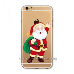 Новогодний Чехол для iPhone 6 и iPhone 6s Силиконовый Бампер Санта Клаус