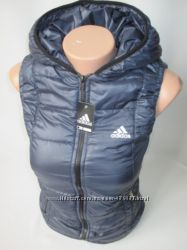 Женская осенне-весенняя жилетка Adidas с капюшоном
