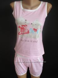 Летние пижамы майка с шортами