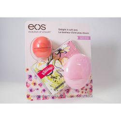 Набор  бальзам для губ, крем для рук, салфетки EOS