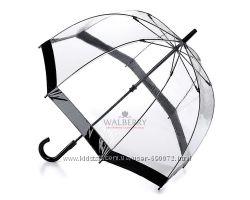 Женский прозрачный зонт-трость Fulton Birdcage-1 - L041 - Black Черный