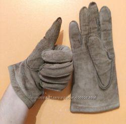 Теплые перчатки, натуральная замша