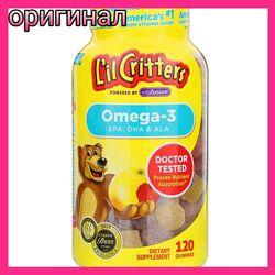 Lil critters, Омега-3, вкус Малиновый лимонад, 60 желеек
