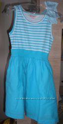 Платье-сарафан с бантом хлопок голубое в полоску на 5-7 лет