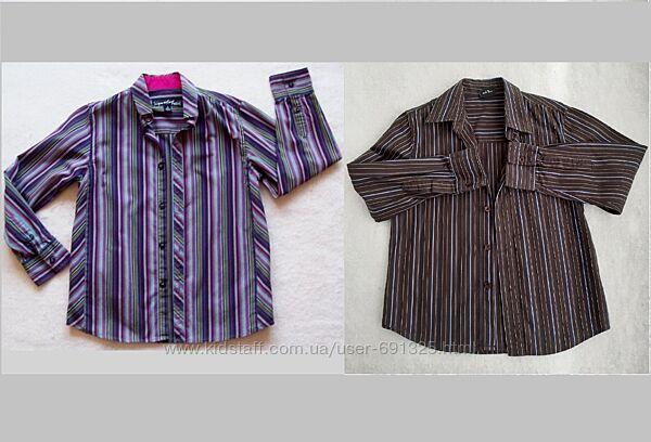 Рубашка в полоску хлопок, на 7-8 лет.