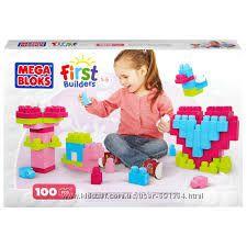 Конструктор Мега Блокс 100 деталей Первые строители Розовый