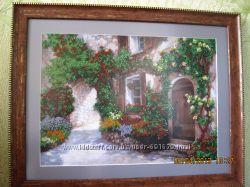 Продам красивейшую картину на холсте, частично вышитую чешским бисером