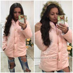 Теплая курточка цвета черный серый голубой розовый белый