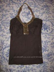 Красивая коричневая блузка-майка VILA
