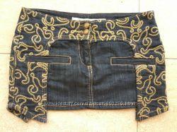 Юбка джинсовая короткая с вышивкой, р-160XS