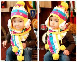 Зимний детский комплект - шапка и шарф  ЗАЙКИ для весевых малюток.