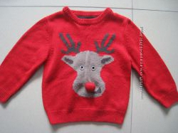 фирменный новогодний свитер мальчику 5-6л. 110-116см.