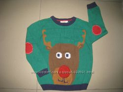 Фирменный новогодний свитер. кофта 5-6л.  110-116см