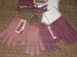 Зимние теплые перчатки с начесом, натуральный состав