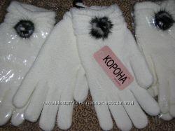 Перчатки женские зимние белые с мехом норочки