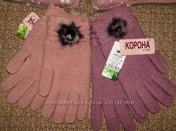 Перчатки бамбуковые и шерстяные с начесом женские зима
