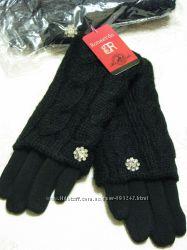Перчатки митенки косичка черные кашемировые