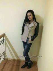 Кашемировая куртка с кожаными рукавами