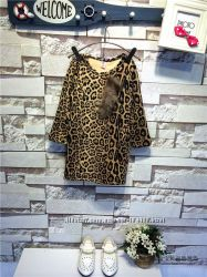 Тёплая леопардовая туника для девочек в наличии