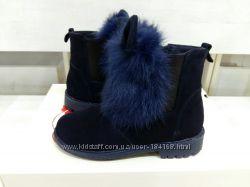 Кожаные зимние ботинки девочке Ушки размера 31-32-33-36