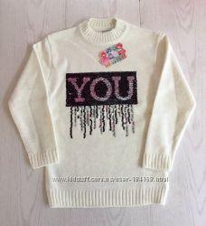 Тёплый свитер для девочки, подростка с паетками