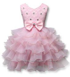 Нарядное праздничное пышное платья для девочек белое и розовое скидка