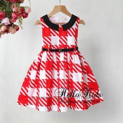 Платье с хлопка в стиле ретро с ремешком для девочек