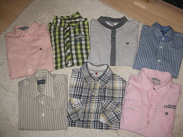 Рубашки с коротким рукавом, шведки на 6-8 лет next boys и др.