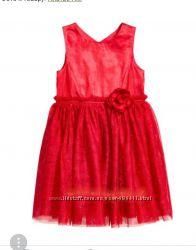Нарядное красное платье 6-7 лет от H&M