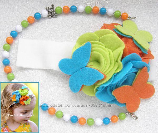 Яркие повязки с цветами для маленьких модниц