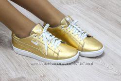 Кроссовки кожаные Puma золотистые. Наличие