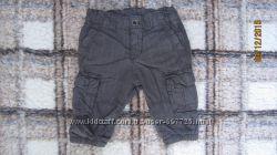 Коричневые штаны в клетку на подкладке H&M р. 62 см 2-4 мес