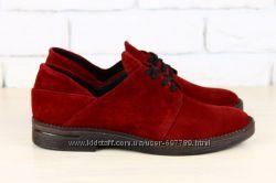 Туфли на шнурках, р. 36-40, натур. замша, код nvk-2273