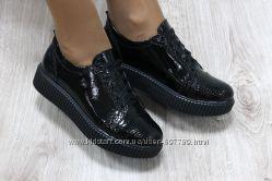 Туфли на шнуровке, р. 36-41, натур. кожа, син. , черн. , код ks-1995