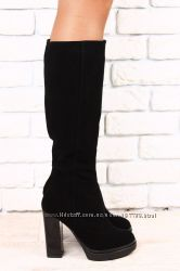 Сапоги на устойчивом каблуке, р. 36-40, натур. замша, код nvk-2328