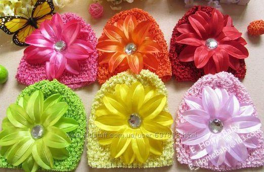 Ажурные шапочки с обалденным пышным цветком лилии и герберы