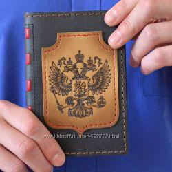 Обложки для паспорта из телячьей кожи, выжигание
