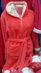 Теплые женские халаты. Софт. 44 - 50р. На молнии. Разные цвета.