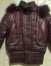 Женские зимние куртки на синтепоне.  Фиолетовый и чёрный цвет. 42-50р.